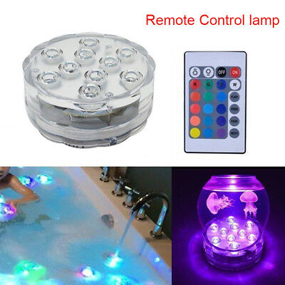 1/2/4/10pcs 10LED RGB Sumergible Estanque Luz Piscina Jacuzzi Spa Lámpara LED Ir