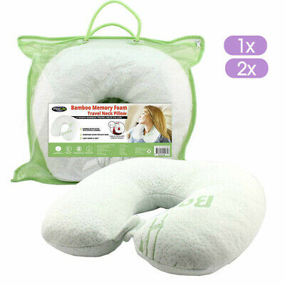 Bamboo Neck Pillow Memory Foam Travel Cushion Easy Wash Relieve Pressure Plane