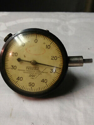 """USED FEDERAL A6Q .001/"""" DIAL INDICATOR FULL JEWELED MACHINIST TOOL 5//8"""" LONG STEM"""