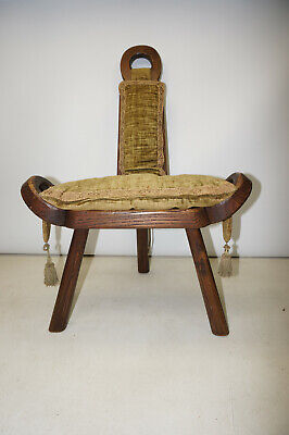 Antique Vintage Labor Birthing Spinning Wheel Hand Carved Wood Chair