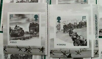 2019 D-DAY: 75TH ANNIV Self Adhesive SET of 2 MINT Gold & Sword