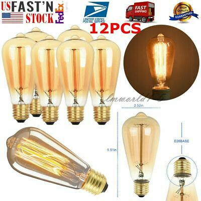 12 PACK LED Vintage Edison Light Bulbs 60W Amber Glass ST64 Dimmable Antique E26