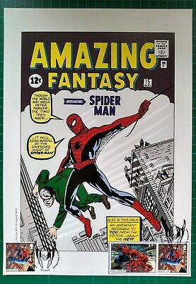 INTRODUCING SPIDER MAN 1962 A4 Cover Reprint with 2019 Stamps FIRST DAY MARVEL