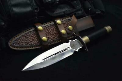 13 New Mirror Light 9CR18 Double Blade Rope Handle Survival Hunting Knife VTH137