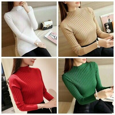 Women Winter Slim Knitted Sweater Long Sleeve Stretch Pullover Warm Sweater-Tops