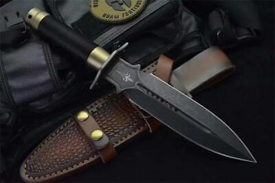 13'' New Stone Wash 9CR18 Double Blade Rope Handle Survival Hunting Knife VTH138