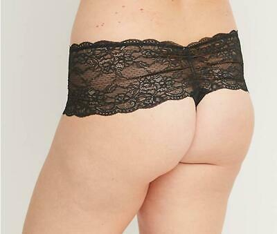Lane Bryant CACIQUE Lace Wide-Side Thong Panty - Sexy Adult - Black