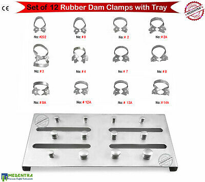 12PCS Endodontics Rubber Dam Clamps Retractors Restorative Dental With FREE Tray