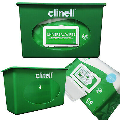 Clinell Green Wall Mountable Wipes Dispenser, Used for Universal Wipes 200 Pack