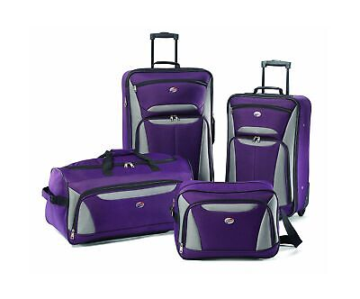 American Tourister Luggage Fieldbrook Ii 4 Pc Set, Purple/Grey