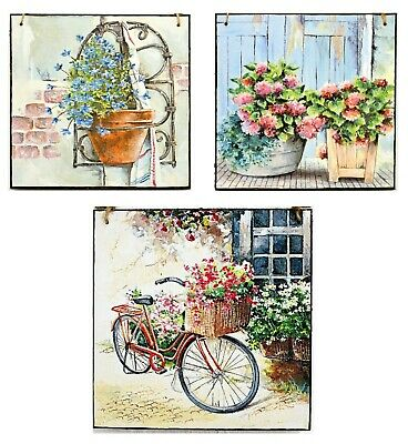 Wall hanging plaque/picture Rustic Country/cottage garden Bike Flowers Pots