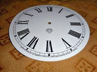 For American Clocks-Ansonia Paper Clock Dial- 125mm M/T-GLOSS WH- Parts/Spares