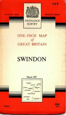 1961 Vintage Ordnance Survey One-Inch Seventh Series Map Sheet 157 Swindon