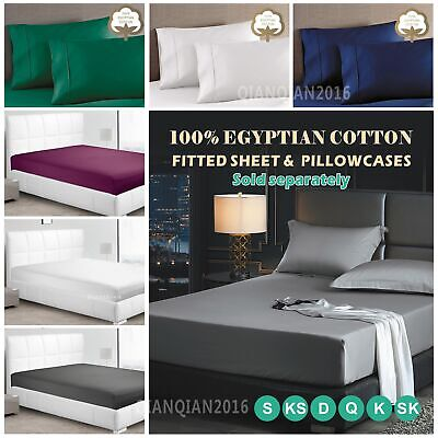 Luxury 1200TC 100% Egyptian Cotton 35-40cm Deep Fitted Sheet Pillowcases For Bed