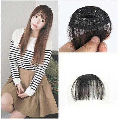 Thin Neat Air Bangs Human Hair Extensions Clip in on Fringe Front Hairpiece
