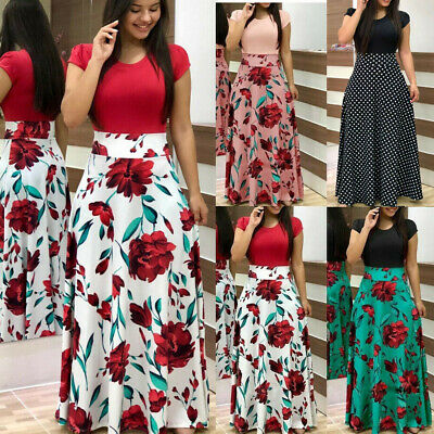 UK Womens Floral Maxi Dress Evening Party Cocktail Summer Boho Casual Long Dress