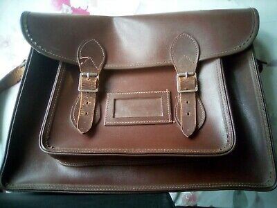 Vintage Leather School Satchel with contents
