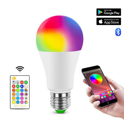 RGB E27 LED Lamp Bulb Lights Color Changing Dimmable Bluetooth Remote Controller
