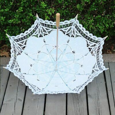 UK Victorian Sun Parasol Lace Umbrella Hand Fan Wedding Dancing Party Photo Show
