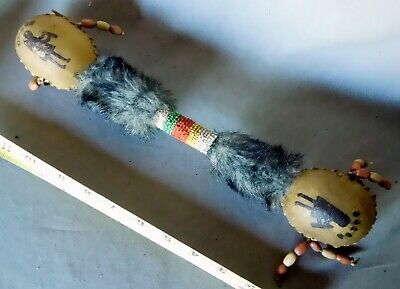 Rare Antique Native American double gourd rattle Navajo Sioux beaded painted fur