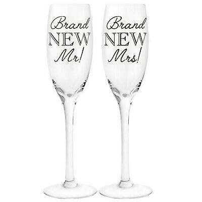 Wedding Gift Set - Two Champagne Flutes / Prosecco Glasses - Brand New Mr & Mrs