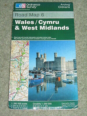 OS Ordnance Survey Road 6 Wales & West Midlands - 1:250,000 - 2001 edition