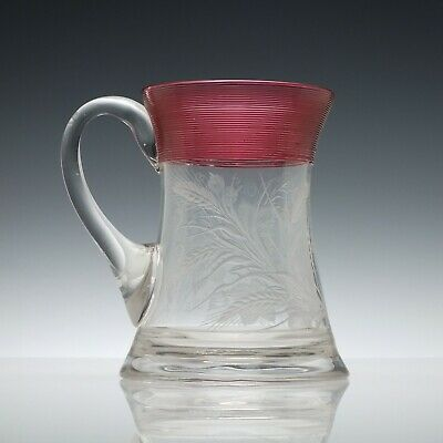 Antique Engraved 19th Century Glass Tankard with Cranberry Trailing c1880