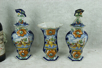 Set 3 Antique Delft polychrome pottery vases set farm landscape dutch decor mark