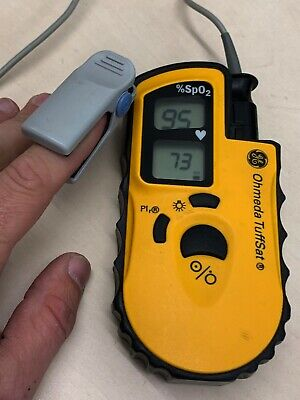 Datex Ohmeda TuffSat Pulse Oximeter SpO2 Yellow GWO with Finger Probe