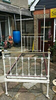 Antique single bed frame metal & brass collectable project restoration project