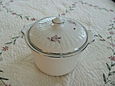 Hall China for Forman Family Pink Rose White Marmite pot with lid