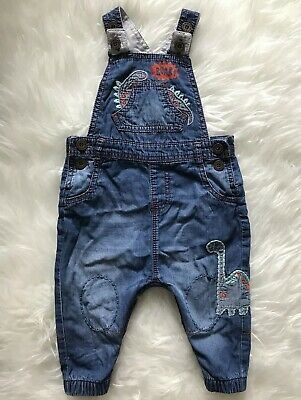 705830cbb932 NEXT Baby Boys Dungarees Denim Blue Jean Summer Outfit Dinosaurs Size 6-9  Months