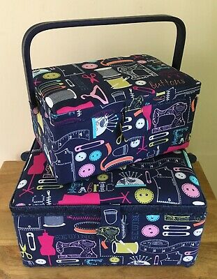 Fabulous Sewing Boxes Baskets 'Sew It' Design Super Quality 2 Sizes
