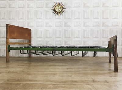 RARE Antique Single Bed - Spring Cast Iron Limed Oak & Mattress *£65 DELIVERY*