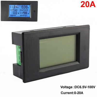 DC 6.5~100V 20A/2000W LCD Combo Panel Display Volt Amp Power Watt Meter