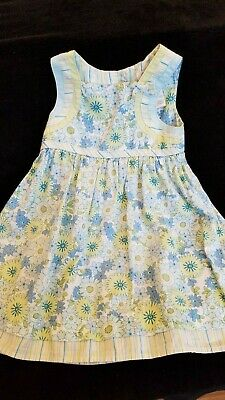 George Baby Toddler Girls Light Blue and Mint Green Floral and Strip Dress