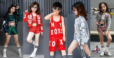 UK Street Dance Wear Costume Girls Tutu Dress Sequins Kids Hip Hop Jumpsuit Jazz