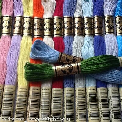 1 - 10 Dmc Cross Stitch Threads/Skeins Choice Of 447 Colours Free Pp