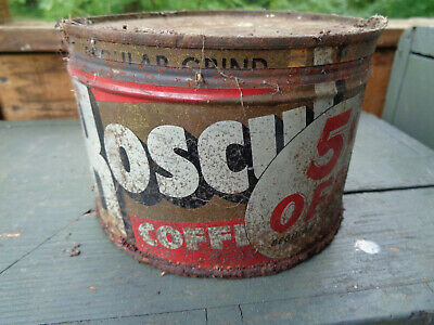 Antique Boscul Coffee Tin Litho Keywind Can Vintage 5 Cent Promo Advertising Vtg