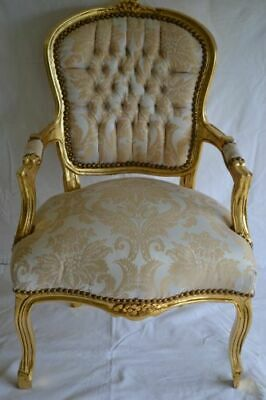 Louis Xv Arm Chair French Style Chair Vintage Furniture White And Gold