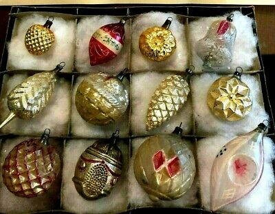 12 Antique German PINK SILVER GOLD Blown Glass Figural XMAS ORNAMENT 1920-30s