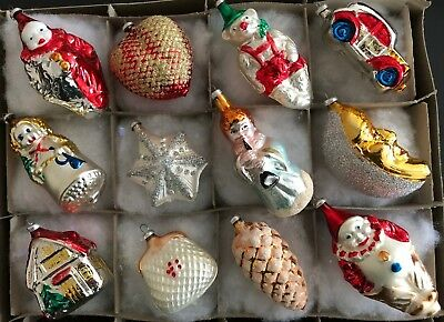 12 Antique Glass Blown Painted Figural German Feather Tree Glass Xmas Ornaments
