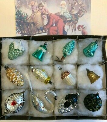 12 Antique German  Blown Glass Figural XMAS ORNAMENTs 1930-40 Annealed Swan more