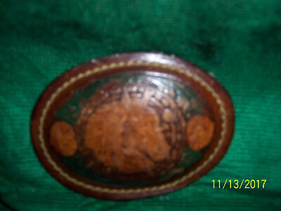 Vintage Belt Buckle,Handcrafted Tooled Leather On Metal Horse Head