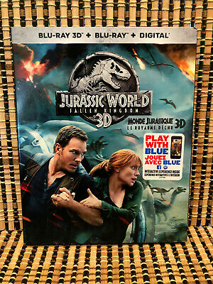 Jurassic World 2: Fallen Kingdom 3D (1-Disc Blu-ray, 2018)+Slipcover.Dinosaurs