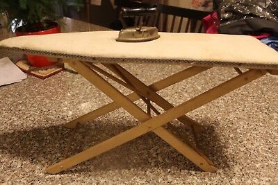 """Antique Ironing Board for 18"""" Dolls with Cast Iron Iron / Mini Ironing Board"""