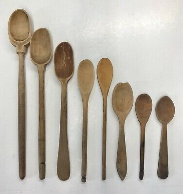 Antique & Vintage Primitive Wood Spoons Lot Of 8 Various Sizes