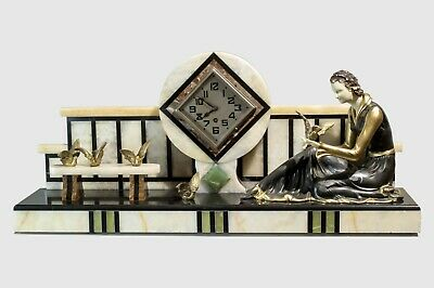 1930 Art Deco Mantel Clock  With Sculpture Statue Lady And Birds Figures