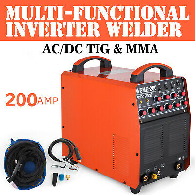 WSME-200 TIG MMA ARC Welding Machine AC/DC HF Inverter 200 Amp Aluminum PULSE