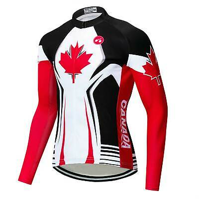 Canada Team Cycling Jersey Long Sleeve Men's Bike Cycle Jersey Shirt Reflective